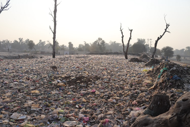 Acúmulo de lixo trazido por uma enchente.